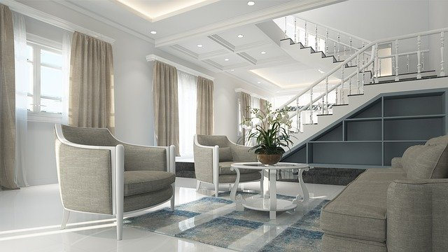 large room with stairway